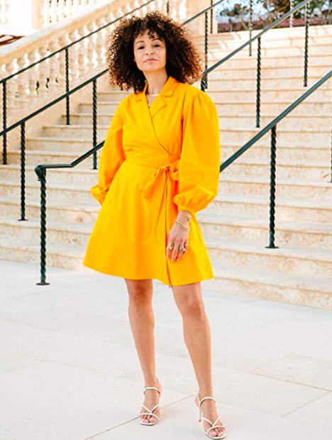 """While this vibrant frock from @scoutthecity isn't on sale, Amazon is offering discounts on other house brands like <a href=""""https://www.amazon.com/stores/Lark+%26+Ro/page/D78EBA38-C04D-4B20-8EEE-70C7191D3728?ref_=ast_bln"""" rel=""""nofollow noopener"""" target=""""_blank"""" data-ylk=""""slk:Lark & Ro"""" class=""""link rapid-noclick-resp"""">Lark & Ro</a> and <a href=""""https://www.amazon.com/stores/page/20B5CB8C-E538-4364-B695-B38CC60C028A"""" rel=""""nofollow noopener"""" target=""""_blank"""" data-ylk=""""slk:28 Palms"""" class=""""link rapid-noclick-resp"""">28 Palms</a>. <br> <br> <strong>The Drop</strong> Saffron Balloon-Sleeve Wrap Mini Dress, $, available at <a href=""""https://www.amazon.com/dp/B084X5YGXD/ref=thedrp_rs_ctlg_dp"""" rel=""""nofollow noopener"""" target=""""_blank"""" data-ylk=""""slk:Amazon"""" class=""""link rapid-noclick-resp"""">Amazon</a>"""