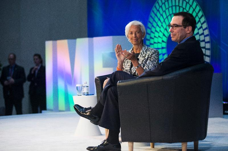 US Treasury Secretary Steven Mnuchin's (L) comments came during a public conversation with Christine Lagarde (R), head of the International Monetary Fund, during the spring meetings of the IMF and World Bank, which are to wind down on April 23, 2017