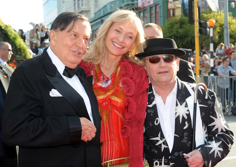 """Cast members Barry Humphries, left, who plays Great Goblin, his wife Lizzie Spender, center, and Sylvester McCoy who plays Radagast, on the red carpet at the premiere of """"The Hobbit: An Unexpected Journey,"""" at the Embassy Theatre, in Wellington, New Zealand, Wednesday, Nov. 28, 2012. (AP Photo/SNPA, Ross Setford) NEW ZEALAND OUT"""
