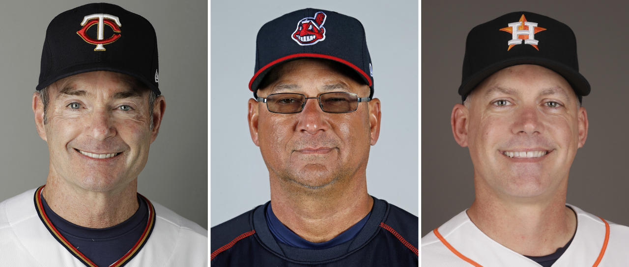 FILE - These are 2017 file photos showing Paul Molitor, left, Terry Francona, center, and A.J. Hinch. The American and National League baseball Managers of the Year will be announced Tuesday, Nov. 14, 2017. The AL favorites are Minnesota's Paul Molitor, Cleveland's Terry Francona, and Houston's A.J. Hinch. (AP Photo/File)