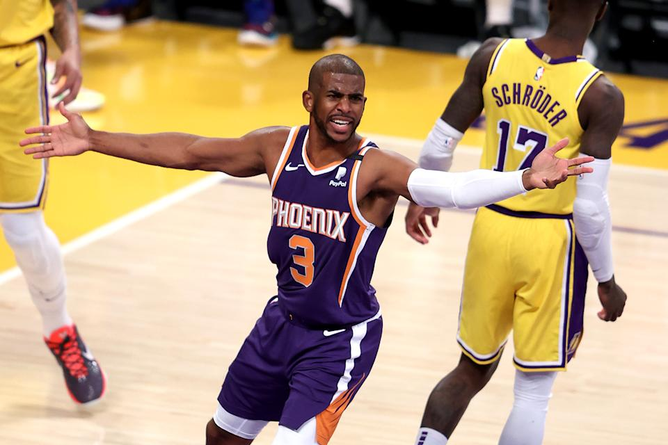 LOS ANGELES, CALIFORNIA - MAY 27:  Chris Paul #3 of the Phoenix Suns appeals to referees for a foul during the first half of Game Three of the Western Conference first-round playoff series against the Los Angeles Lakers at Staples Center on May 27, 2021 in Los Angeles, California.  NOTE TO USER: User expressly acknowledges and agrees that, by downloading and or using this photograph, User is consenting to the terms and conditions of the Getty Images License Agreement.  (Photo by Sean M. Haffey/Getty Images)