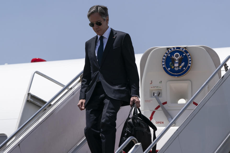 Secretary of State Antony Blinken steps off his plane upon arrival at Cairo International Airport, Wednesday, May 26, 2021, in Cairo, Egypt. (AP Photo/Alex Brandon, Pool)