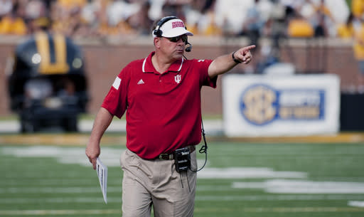 Indiana head coach Kevin Wilson shouts at a referee during the second quarter of an NCAA college football game against Missouri, Saturday, Sept. 20, 2014, in Columbia, Mo. (AP Photo/L.G. Patterson)