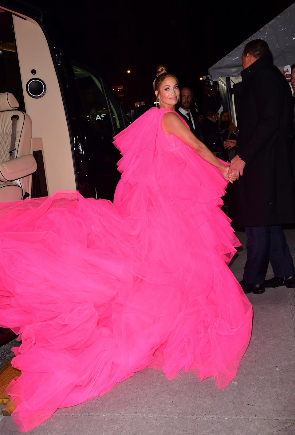 <p>The singer rocked a huge, frothy, bright pink gown by Giambattista Valli to the premiere of her new film. <em>[Photo: Getty]</em> </p>