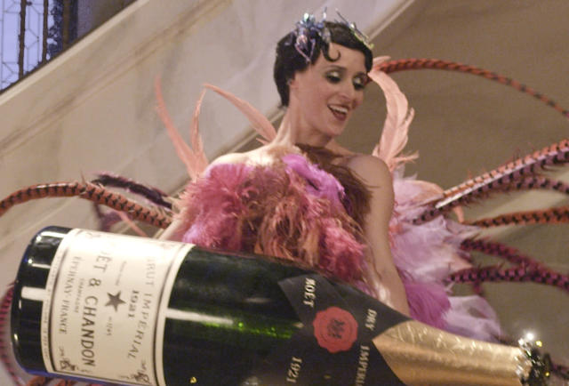 Enormous bottles of Moet & Chandon champagne featured in the opulent 'The Great Gatsby'. (Credit: Warner Bros)