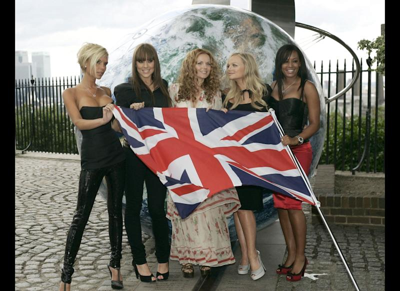 <strong>2007</strong> The Spice Girls pose for the photographers with a British flag on the grounds of the Royal Observatory in Greenwich,