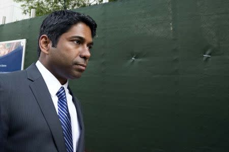 Rengan Rajaratnam exits the U.S. District Court for the Southern District of New York in Lower Manhattan