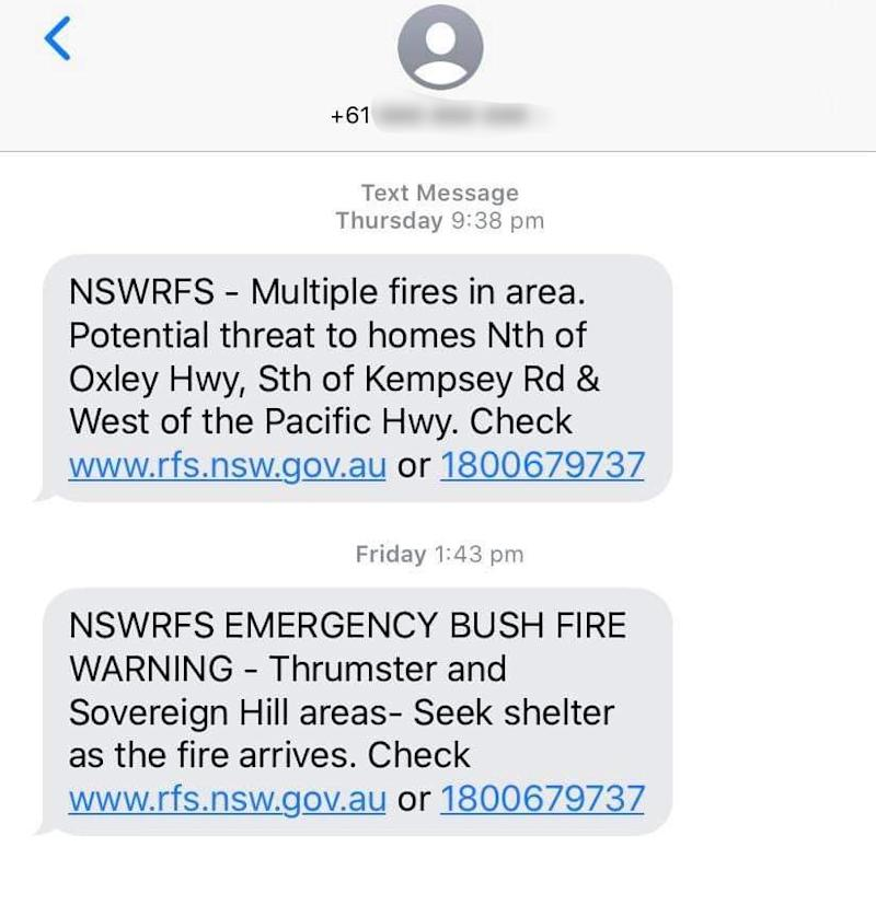 A screenshot of the geo-located emergency warnings sent to a McDonald's Port Macquarie Highway employee. Source: Supplied