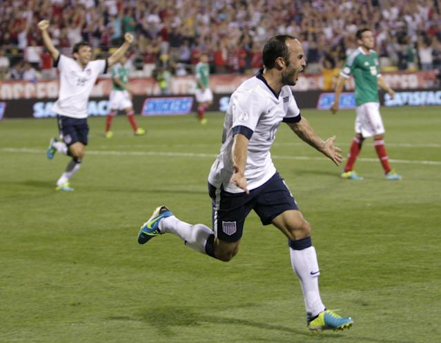 United States' Landon Donovan celebrates his goal against Mexico during the second half of a World Cup qualifying soccer match Tuesday, Sept. 10, 2013, in Columbus, Ohio. The United States defeated Mexico 2-0. (AP Photo/Jay LaPrete)