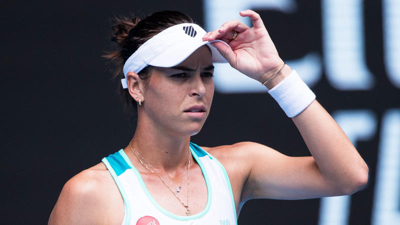 Ajla Tomljanovic looks confused after a point in her second round match against Garbione Muguruza of Spain on day four of the 2020 Australian Open at Melbourne Park on January 23, 2020 in Melbourne, Australia.