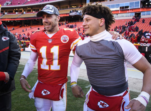 Kansas City Chiefs quarterbacks Alex Smith and backup Patrick Mahomes celebrate their win against the Miami Dolphins in Week 16. (AP Photo/Reed Hoffmann)