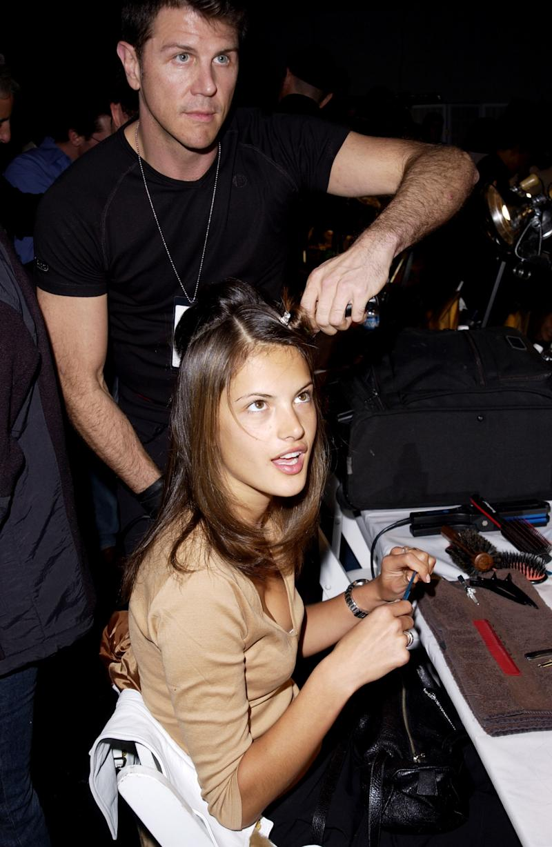 Alessandra Ambrosio backstage at the 2001 Victoria's Secret Fashion Show at Bryant Park in New York.