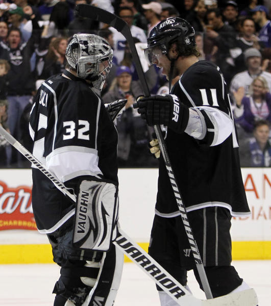 Los Angeles Kings goalie Jonathan Quick (32) celebrates with Los Angeles Kings center Anze Kopitar (11), of Yugoslavia after defeating Vancouver Canucks 1-0 in of Game 3 in a first-round NHL Stanley Cup playoff series in Los Angeles, Sunday, April 15, 2012. (AP Photo/Alex Gallardo)