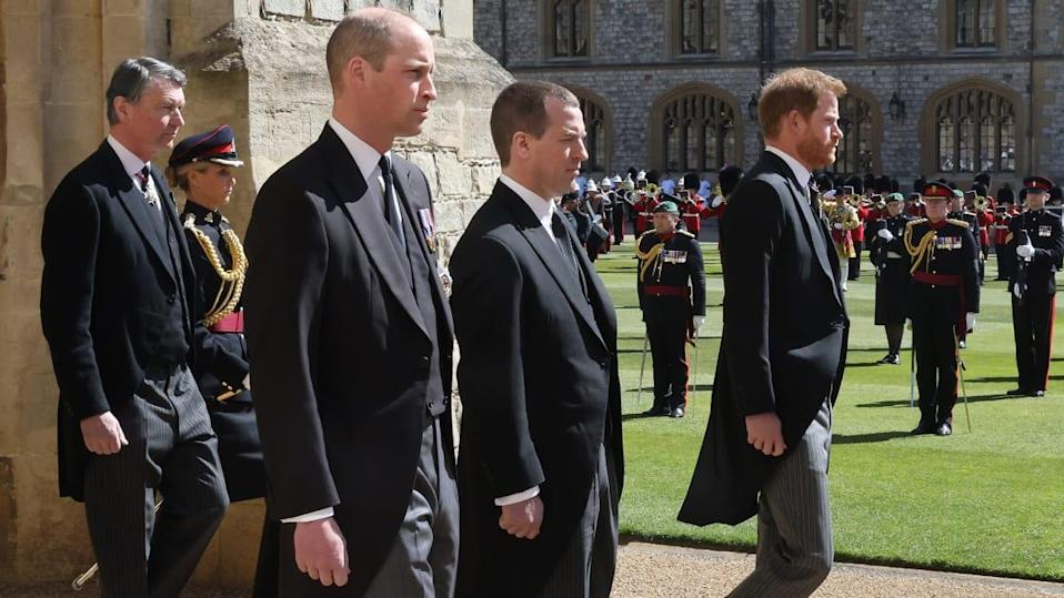 "<div class=""inline-image__caption""><p>Prince William, Duke of Cambridge Vice-Admiral, Sir Timothy Laurence, Peter Phillips and Prince Harry, Duke of Sussex during the funeral of Prince Philip, Duke of Edinburgh at Windsor Castle on April 17, 2021 in Windsor, England.</p></div> <div class=""inline-image__credit"">Chris Jackson/WPA Pool/Getty Images</div>"