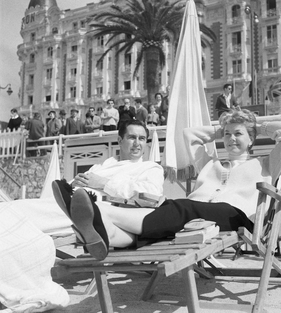 <p>Doris Day and her husband Marty Melcher relax on the beach in France during the Cannes Film Festival.</p>