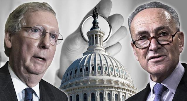 Senate Majority Leader Mitch McConnell and Senate Minority Leader Chuck Schumer. (Yahoo News photo Illustration; photos: AP, Getty)