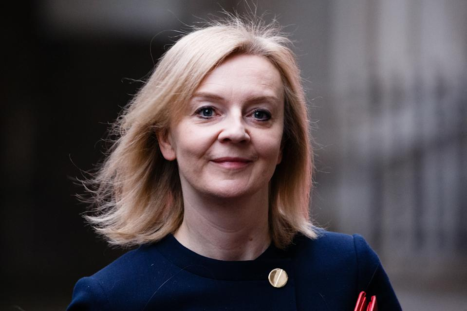 Secretary of State for International Trade, President of the Board of Trade and Minister for Women and Equalities Liz Truss, Conservative Party MP for South West Norfolk, arrives on Downing Street for the weekly cabinet meeting, currently being held at the Foreign, Commonwealth and Development Office (FCDO) in London, England, on October 20, 2020. (Photo by David Cliff/NurPhoto via Getty Images)