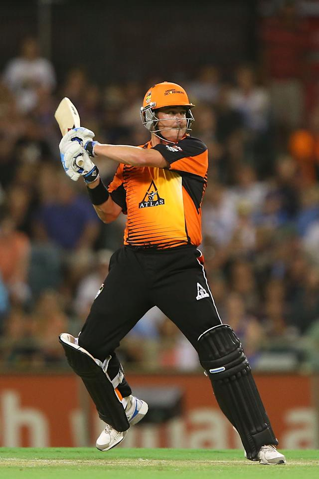 PERTH, AUSTRALIA - JANUARY 04:  Marcus North of the Scorchers bats during the Big Bash League match between the Perth Scorchers and the Sydney Thunder at WACA on January 4, 2013 in Perth, Australia.  (Photo by Paul Kane/Getty Images)