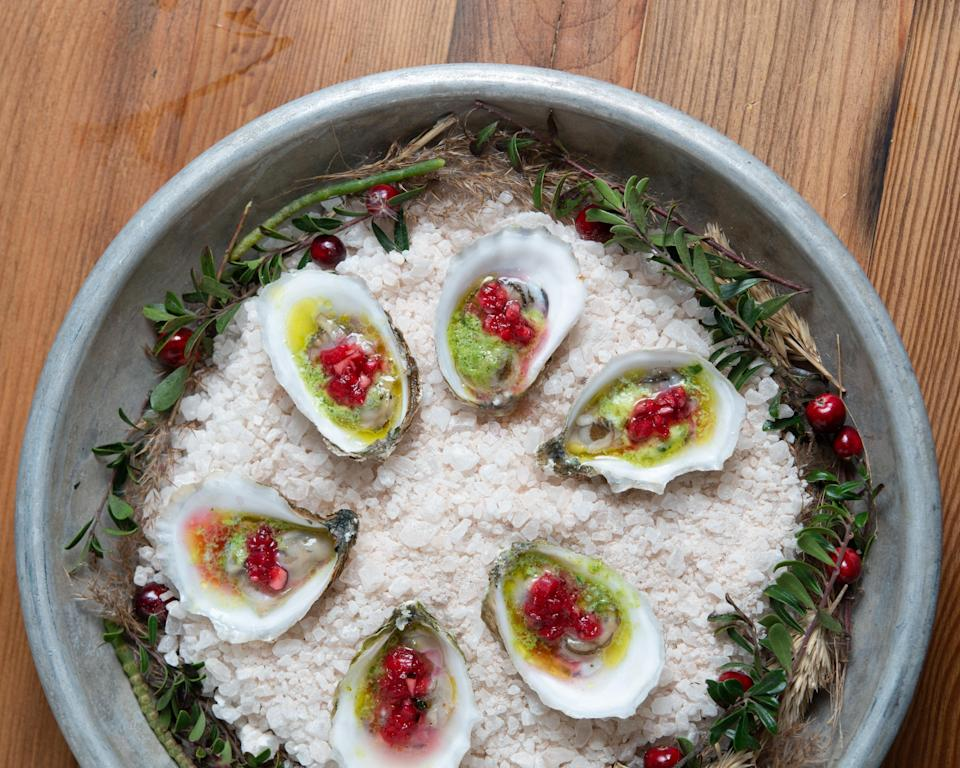 """<p>Oysters are no <a href=""""https://www.thedailymeal.com/recipes-weeknight-dinners-simple?referrer=yahoo&category=beauty_food&include_utm=1&utm_medium=referral&utm_source=yahoo&utm_campaign=feed"""" rel=""""nofollow noopener"""" target=""""_blank"""" data-ylk=""""slk:simple weeknight dinner"""" class=""""link rapid-noclick-resp"""">simple weeknight dinner</a>, so if you're opting for something fancier, why not try these Wellfleet oysters with cranberry mignonette?</p> <p><a href=""""https://www.thedailymeal.com/recipes/wellfleet-oysters-cranberry-mignonette-recipe?referrer=yahoo&category=beauty_food&include_utm=1&utm_medium=referral&utm_source=yahoo&utm_campaign=feed"""" rel=""""nofollow noopener"""" target=""""_blank"""" data-ylk=""""slk:For the Wellfleet Oysters With Cranberry Mignonette recipe, click here."""" class=""""link rapid-noclick-resp"""">For the Wellfleet Oysters With Cranberry Mignonette recipe, click here.</a></p>"""