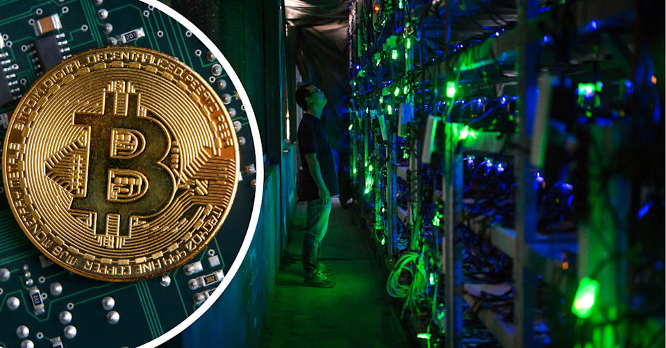 Digital depiction of a Bitcoin and in inside of a Bitcoin mining operation in China.