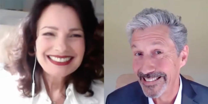 Fran Fine (Fran Drescher) and Mr. Sheffield (Charles Shaughnessy) were together again for the one-time-only performance. (Sony Pictures Entertainment/ Youtube)
