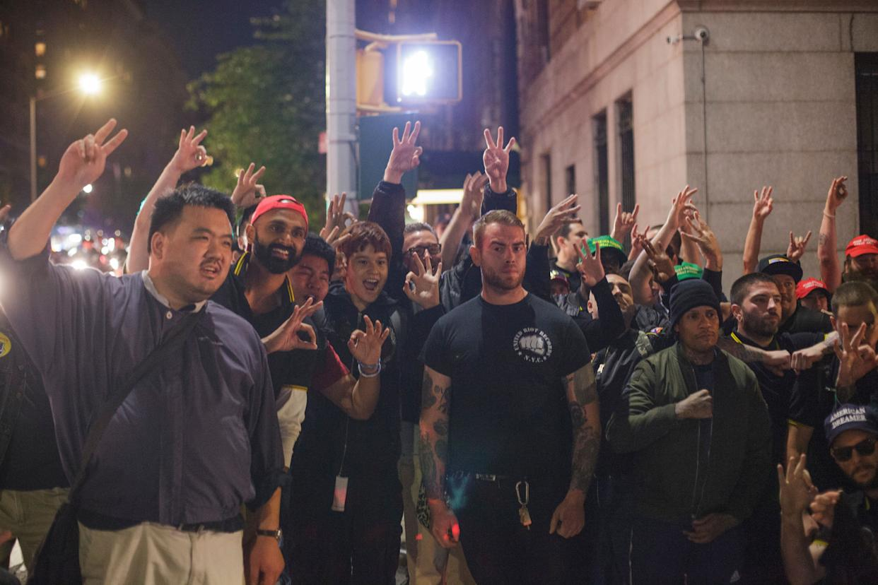 A group of Proud Boys and their allies outside a Manhattan GOP event at which they assaulted protesters. (Photo: Shay Horse for HuffPost)