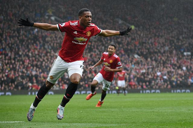 Anthony Martial's 81st-minute goal for Manchester United beat Tottenham. (Getty)