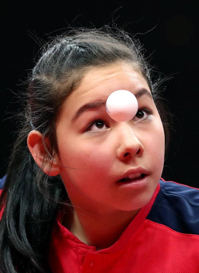 <p>Table Tennis – Gold Coast 2018 Commonwealth Games – Women's Team – Group 2 Match 2 – Oxenford Studios – Gold Coast, Australia – April 5, 2018 – Anna Hursey of Wales competes. REUTERS/Jeremy Lee </p>