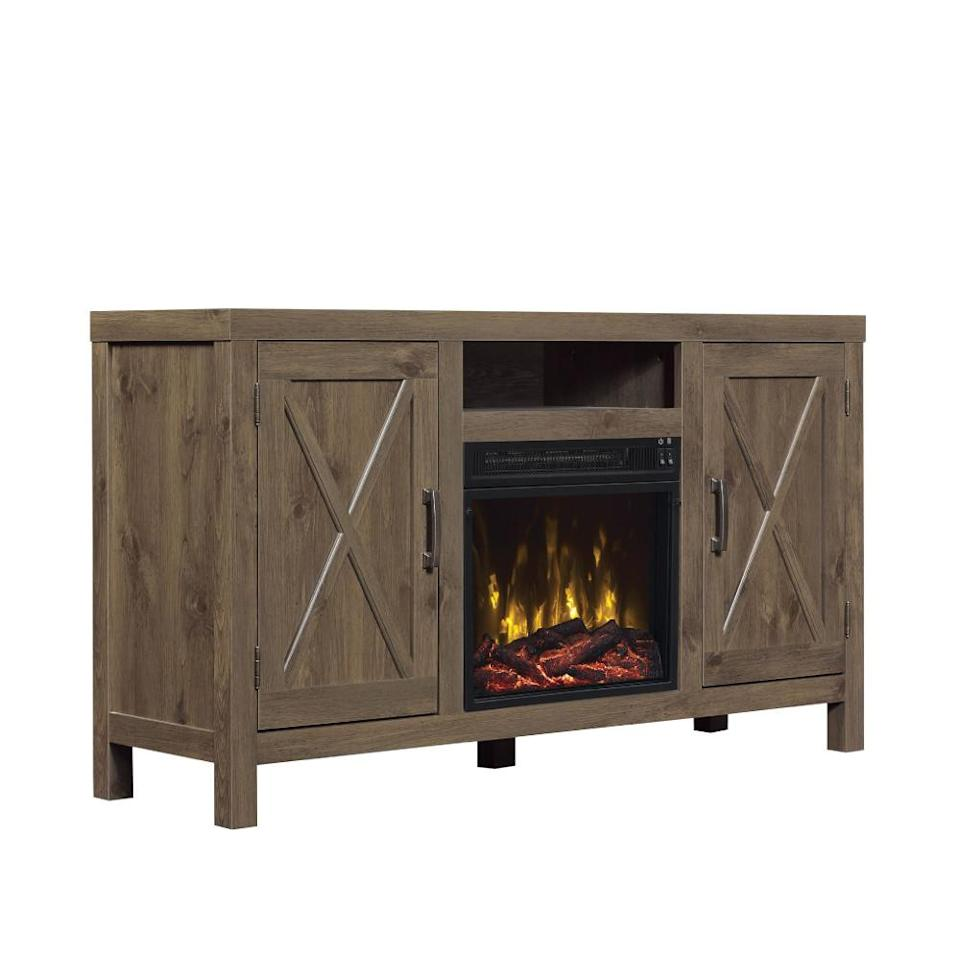 ClassicFlame Humboldt fireplace TV stand. (Photo: QVC)