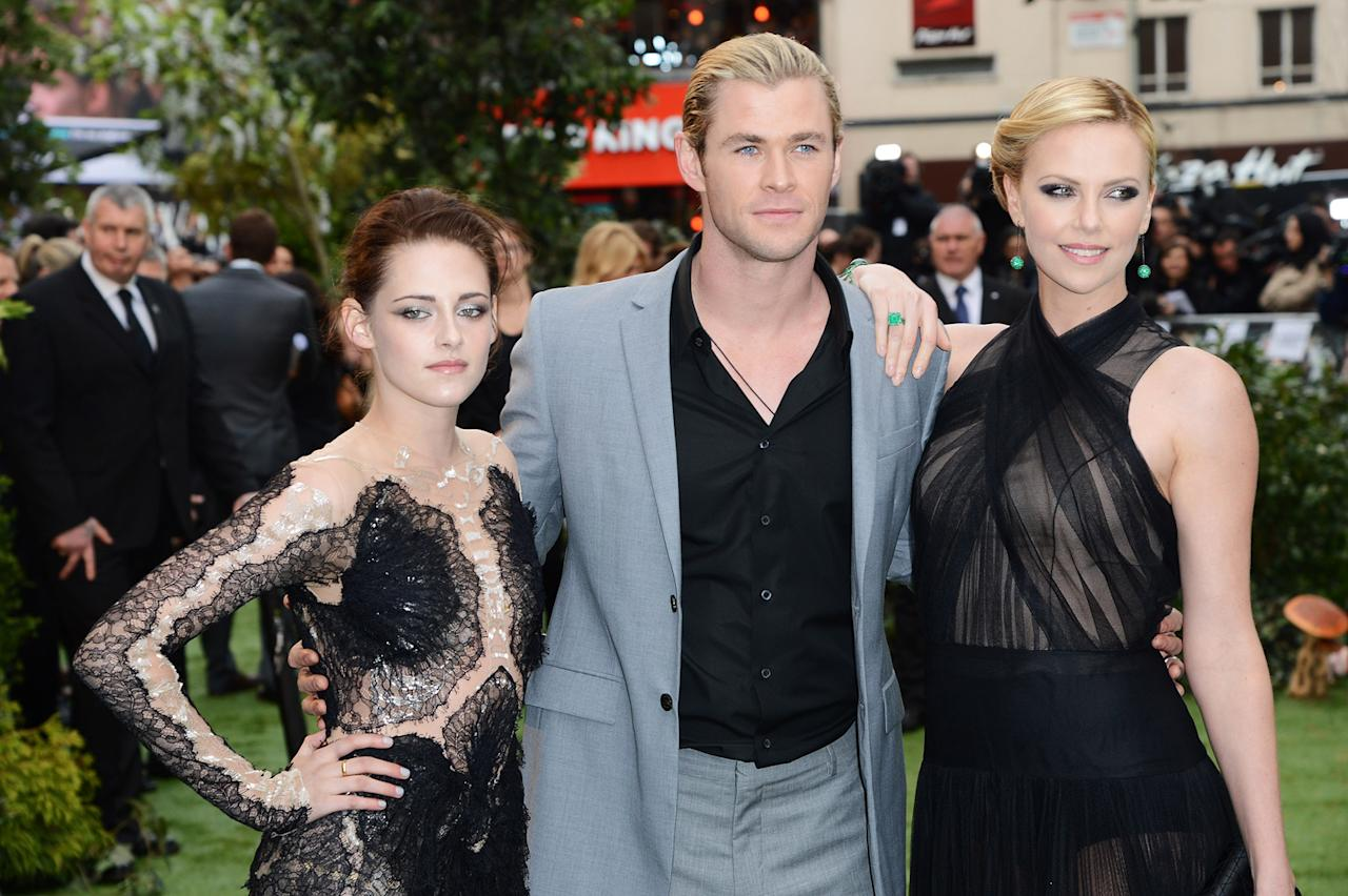 """Kristen Stewart, Chris Hemsworth and Charlize Theron attend the London premiere of """"Snow White and the Huntsman"""" on May 14, 2012."""
