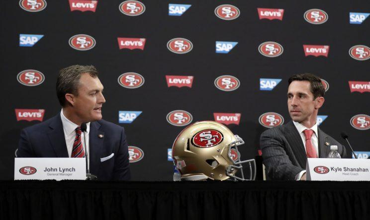 John Lynch and Kyle Shanahan are trying to rebuild the 49ers. (AP)