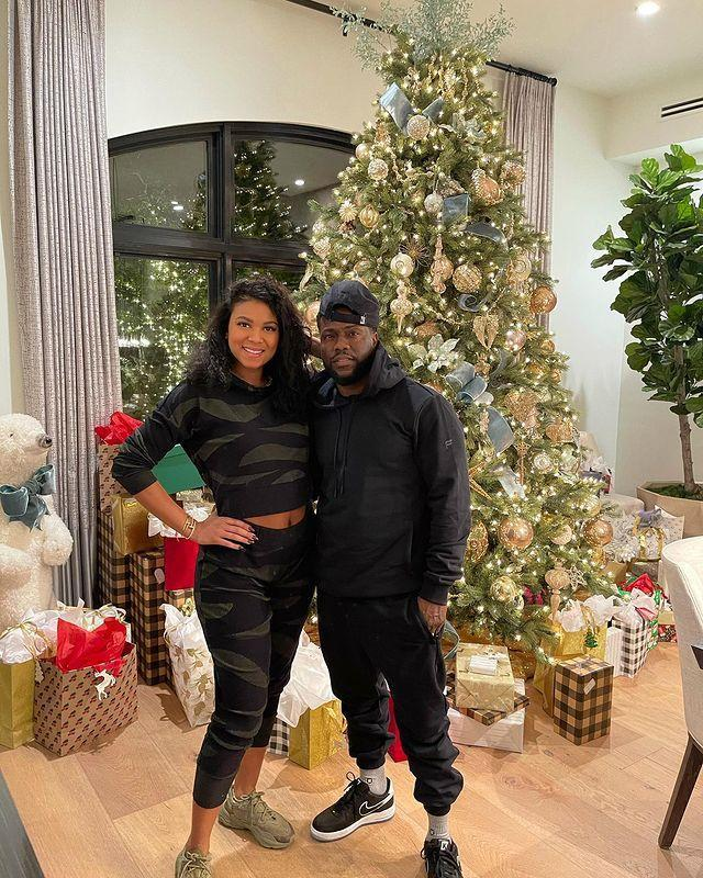 """<p>He'll be home for Christmas! The actor's wife posted a shot of the comfortably clad couple next to their towering tree, saying, """"my hubby is back home just in time for the holidays!"""" </p>"""