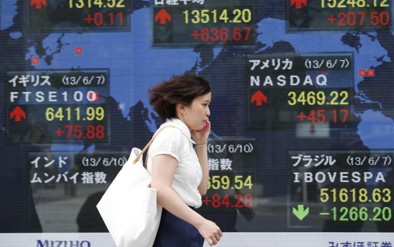 A woman walks by an electronic stock board of a securities firm in Tokyo Monday, June 10, 2013. Asian markets rose Monday after U.S. jobs data helped allay concern the Fed might wind down its stimulus and Japan's prime minister promised new tax cuts. the regional heavyweight, soared 636.67 points, or 4.94 percent, to 13,514.20. (AP Photo/Koji Sasahara)