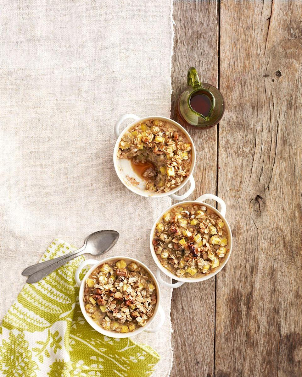 """<p>The recipe you make doesn't have to be elaborate—keep it simple with a basic dish like <a href=""""https://www.countryliving.com/food-drinks/a4937/oatmeal-recipes/"""" rel=""""nofollow noopener"""" target=""""_blank"""" data-ylk=""""slk:oatmeal"""" class=""""link rapid-noclick-resp"""">oatmeal</a>, but add extra touches like zesty ginger and juicy pineapple give the dish unexpected flair. </p><p><strong><a href=""""https://www.countryliving.com/food-drinks/recipes/a4779/pineapple-ginger-walnut-oatmeal-recipe-clv0314/"""" rel=""""nofollow noopener"""" target=""""_blank"""" data-ylk=""""slk:Get the recipe"""" class=""""link rapid-noclick-resp"""">Get the recipe</a>.</strong><br></p>"""