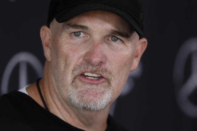 Atlanta Falcons head coach Dan Quinn speaks to reporters after their NFL training camp football practice Monday, July 22, 2019, in Flowery Branch, Ga.(AP Photo/John Bazemore)