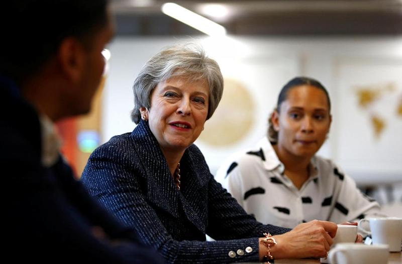 Mrs may took time out of Brexit war-talks yesterday to attend a round table with WPP employees who have come through micro fellowships and apprenticeships at the Southbank Centre. (PA Wire/PA Images)
