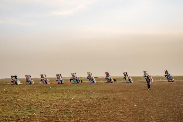 Cadillac Ranch, a public art installation and sculpture created in 1974 by Chip Lord, Hudson Marquez and Doug Michels on December 22, 2020 in Amarillo, Texas.
