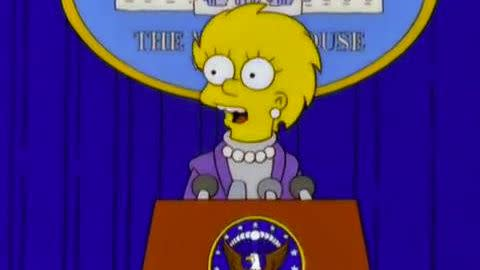 In the March 2000 episode, Lisa takes over the presidency from Trump.