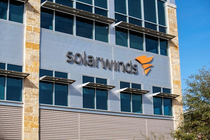 The SolarWinds logo is seen outside its headquarters in Austin, Texas on December 18, 2020. (Sergio Flores/Reuters)