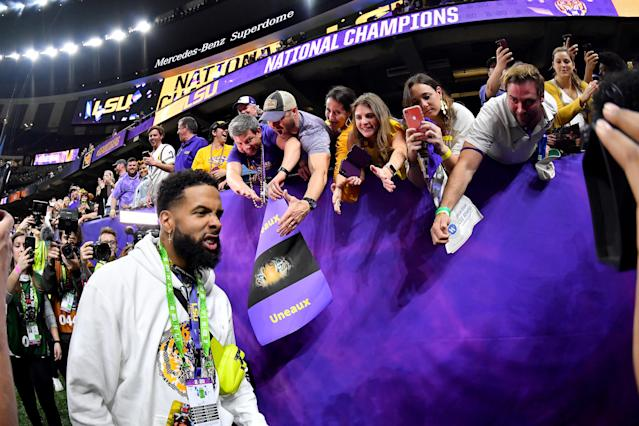 Odell Beckham Jr. is in more hot water after Monday night's championship game. (Alika Jenner/Getty Images)