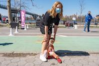 <p>Amy Schumer and son Gene Fischer are out to play in Astoria Park in N.Y.C. on Tuesday.</p>