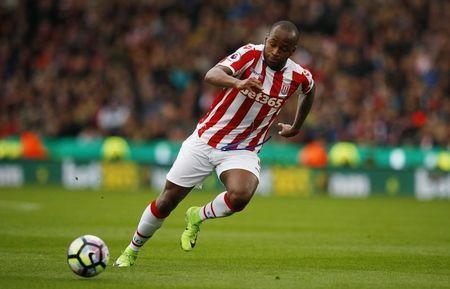 """Britain Football Soccer - Stoke City v Chelsea - Premier League - bet365 Stadium - 18/3/17 Stoke City's Saido Berahino in action Reuters / Phil Noble Livepic EDITORIAL USE ONLY. No use with unauthorized audio, video, data, fixture lists, club/league logos or """"live"""" services. Online in-match use limited to 45 images, no video emulation. No use in betting, games or single club/league/player publications. Please contact your account representative for further details. - RTX31MD6"""