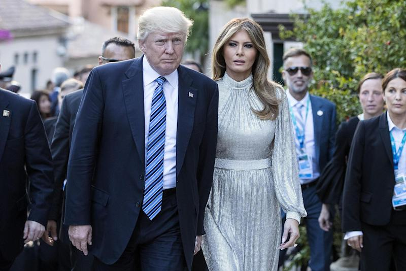 488707a7 DOLCE'S SILVER STREAK: Nearing the end of the European leg of what has been  a whistle-stop worldwide tour, First Lady Melania Trump once again showed  her ...