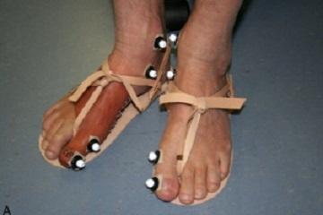 A volunteer in the study wears a replica of an ancient Egyptian prosthetic toe with imitation Egyptian sandals.