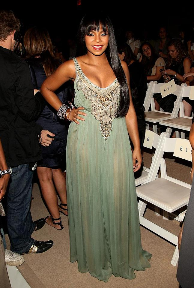 "Ashanti was also in attendance in a flowing green gown that was pretty, but it didn't exactly flatter the R&B singer's curvy figure. Stephen Lovekin/<a href=""http://www.gettyimages.com/"" target=""new"">GettyImages.com</a> - September 11, 2008"