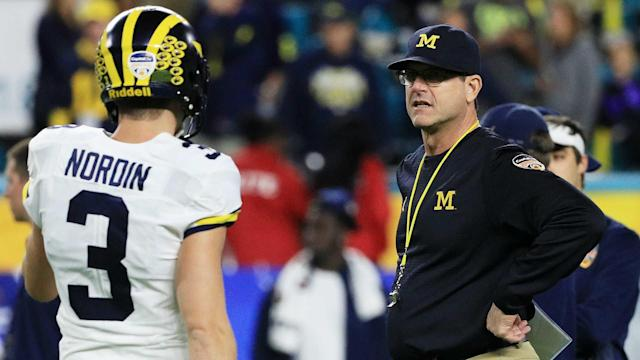 Michigan coach Jim Harbaugh recognized a child with the same name. Meet Harbaugh Fettig.