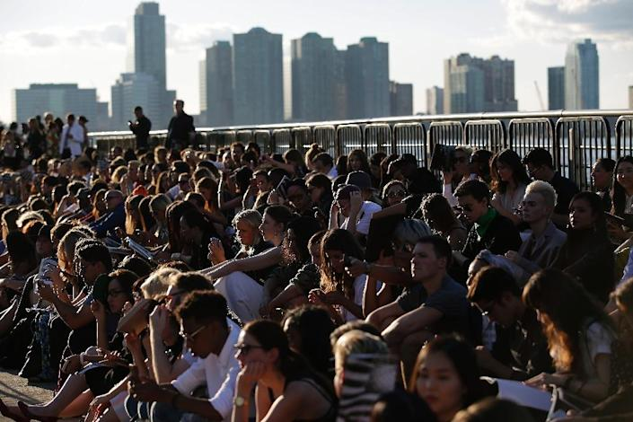 Guests attend the Givenchy Spring/Summer 2016 collection runway show during New York Fashion Week on September 11, 2015 in New York (AFP Photo/Joshua Lott)