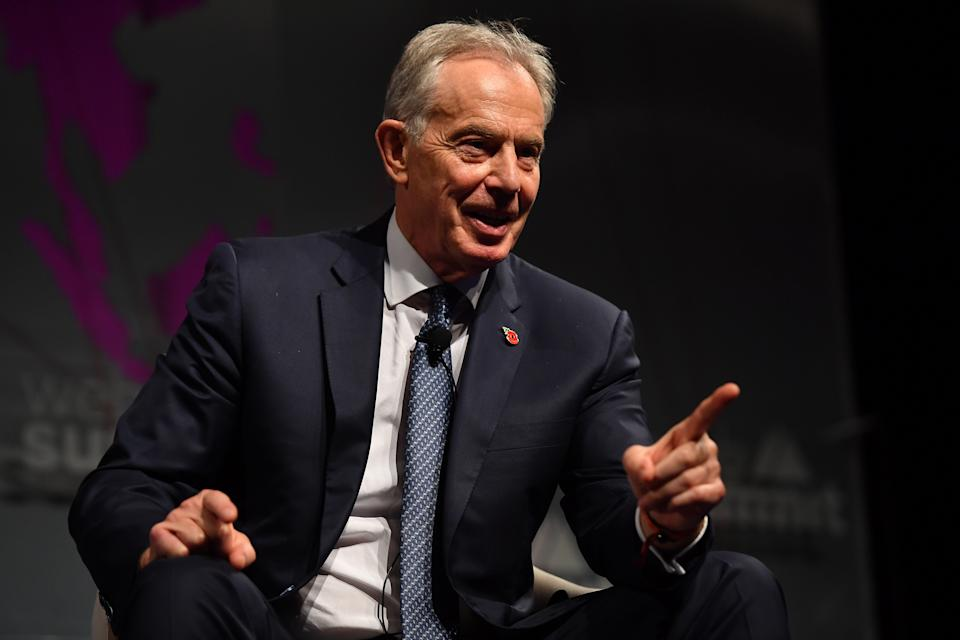 LISBON , PORTUGAL - 5 November 2019; Tony Blair, Executive Chairman of the Institute for Global Change; Former Prime Minister of Great Britain and Northern Ireland, Tony Blair Global Institute, on Future Societies stage during the opening day of Web Summit 2019 at the Altice Arena in Lisbon, Portugal. (Photo By Piaras Ó Mídheach/Sportsfile for Web Summit via Getty Images)