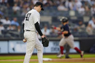 New York Yankees starting pitcher Jordan Montgomery reacts as Boston Red Sox's Christian Arroyo runs the bases after hitting a two-run home run during the second inning of a baseball game Friday, July 16, 2021, in New York. (AP Photo/Frank Franklin II)