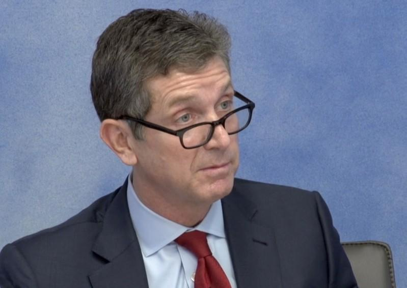Johnson & JohnsonÕs Chief Executive Alex Gorsky speaks during a recorded deposition